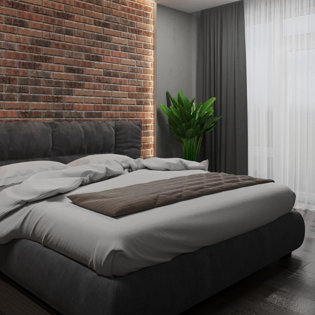 Brickwork at the headboard with backlight and a plant to decorate modern bedroom