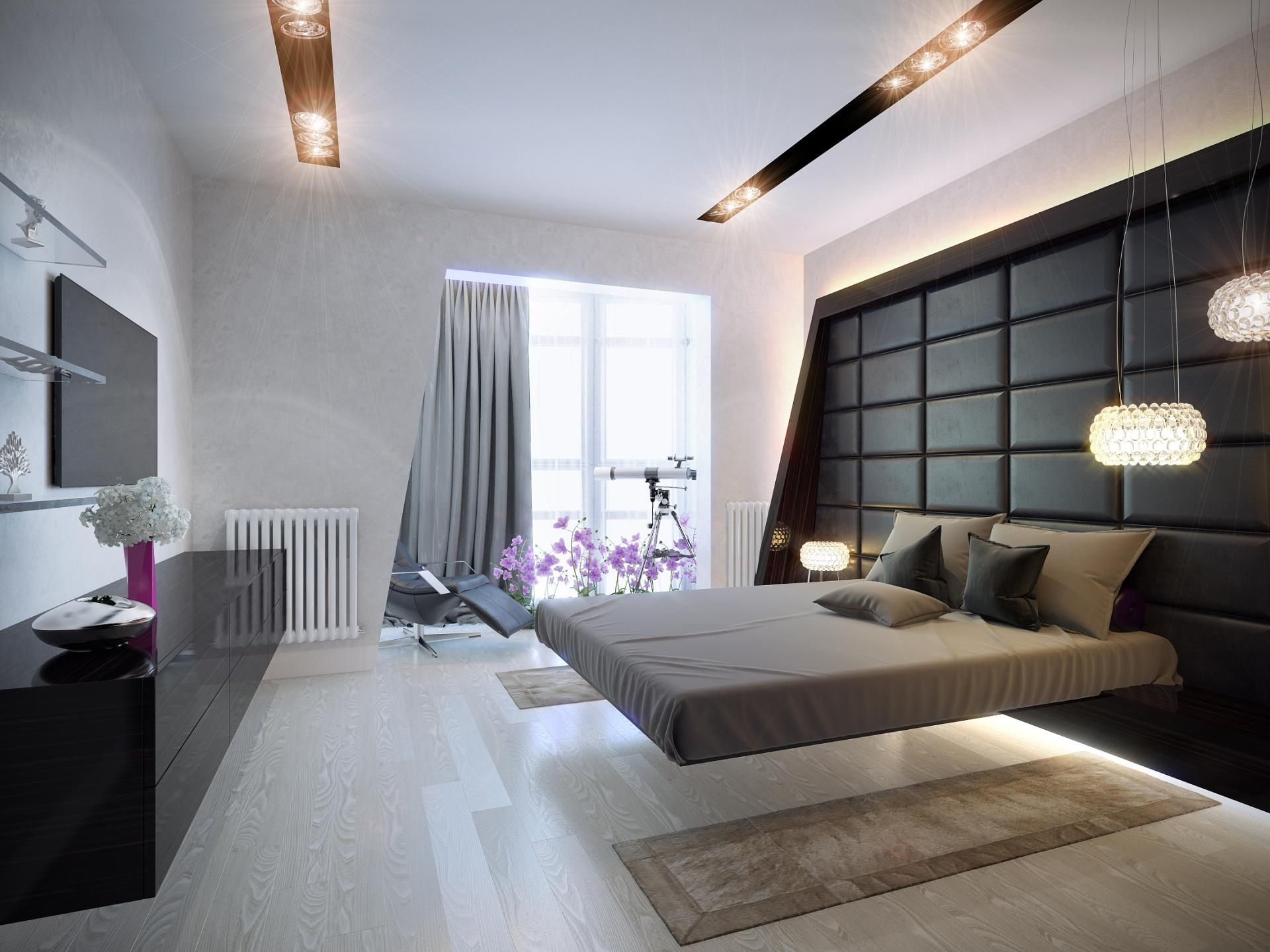 hovering bed and chocolate bar imitating headboard wall paneling for amazing bedroom