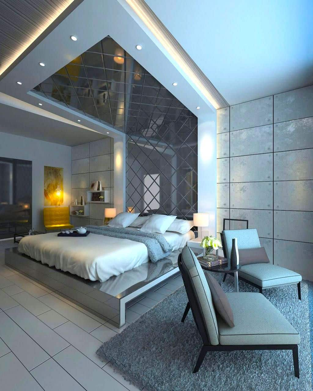 Luxe glossy panels and a whole wall-ceiling installation for amazing futuristic exeprience in the bedroom