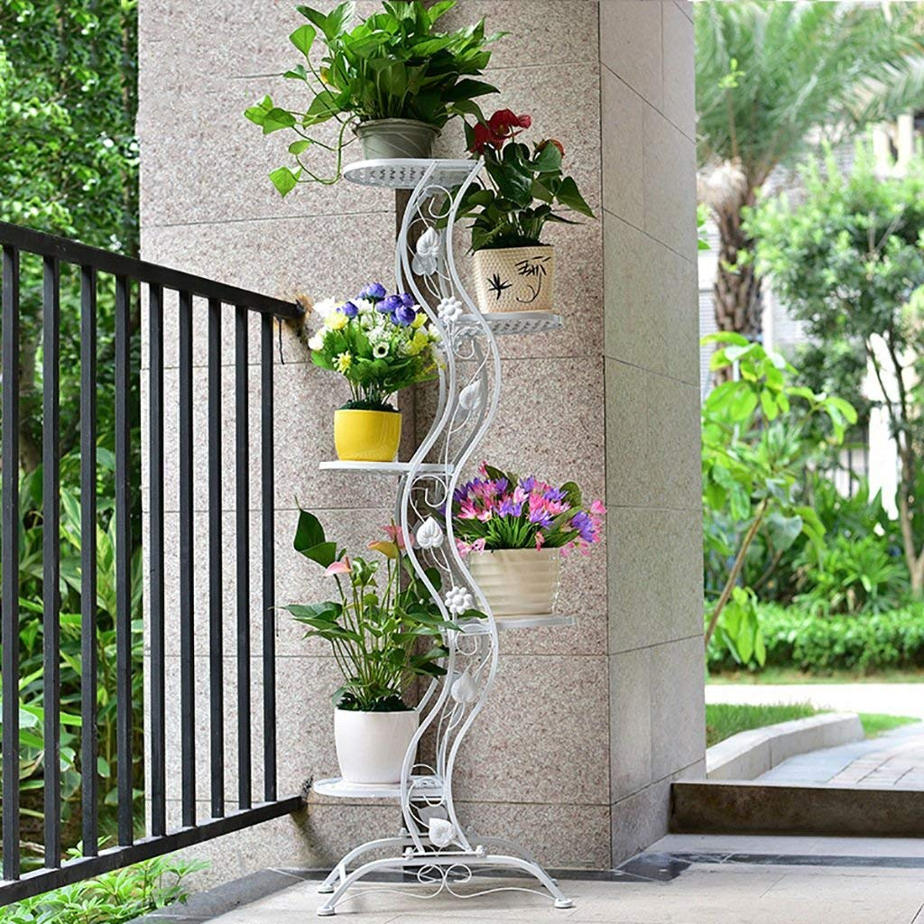 Porch flower stand of white metal
