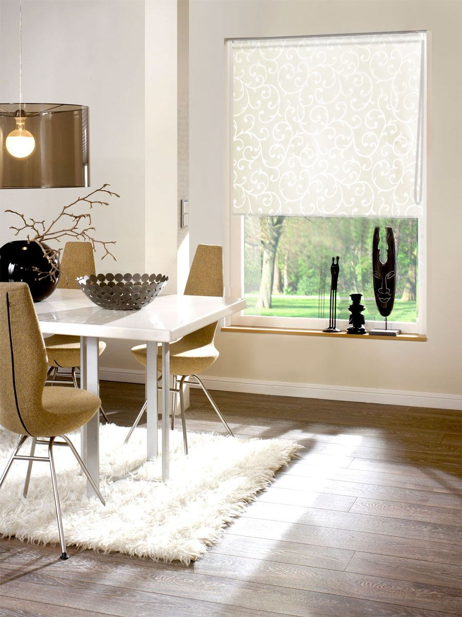 White compact roller blinds for contemporary dining room