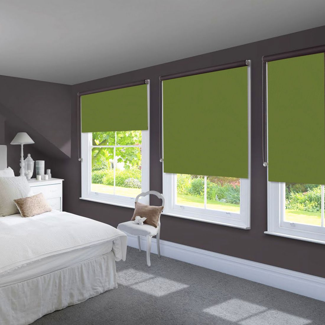 Green roller blinds in futuristic bedroom with dark purple walls