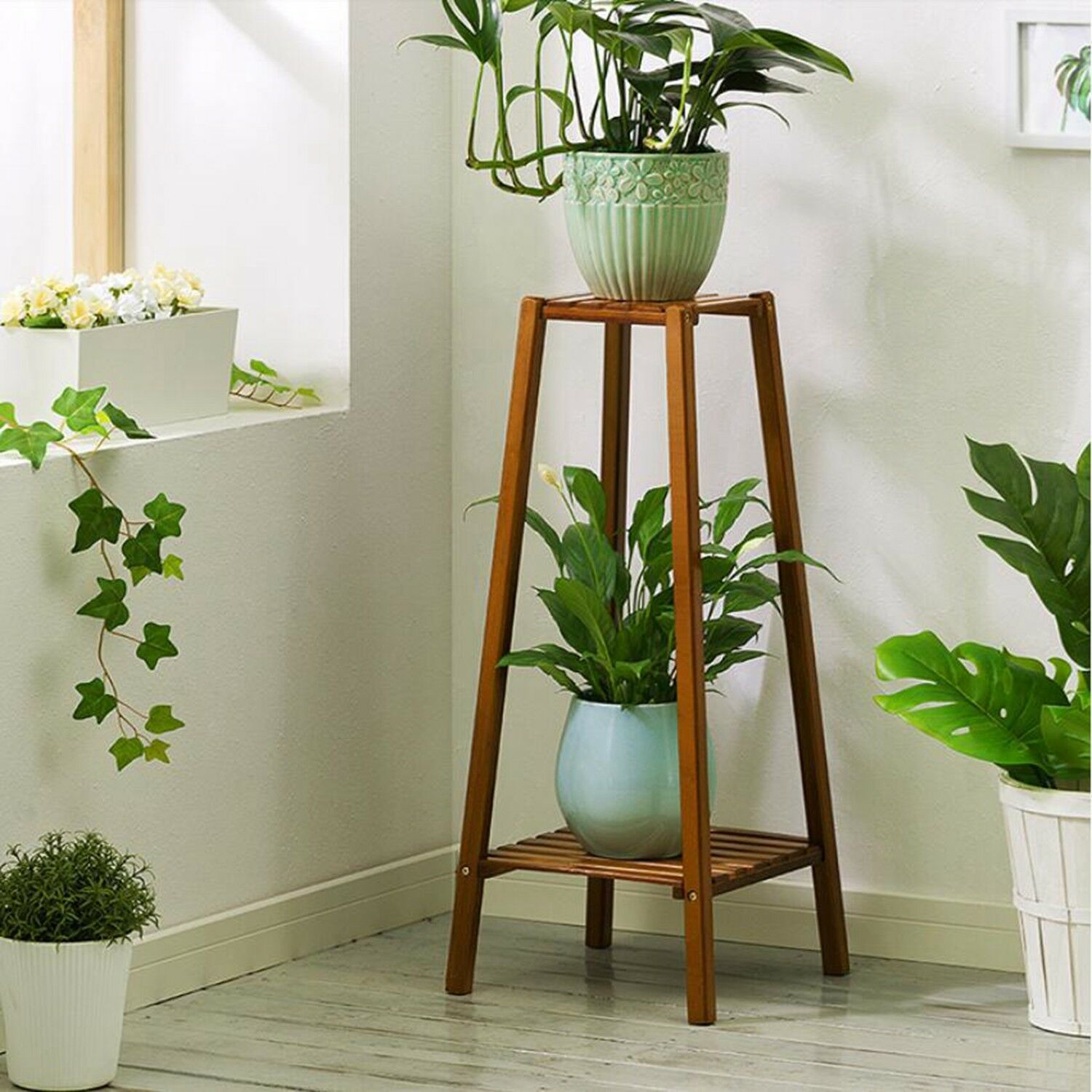 Simple pyramid looking wooden flower stand