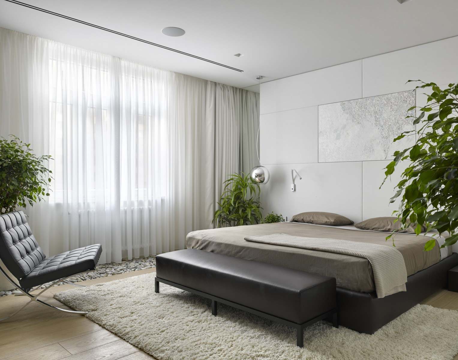 Bedroom Interior Design Ideas, Trends and Solutions 2020. Airy tulle for panoramic window