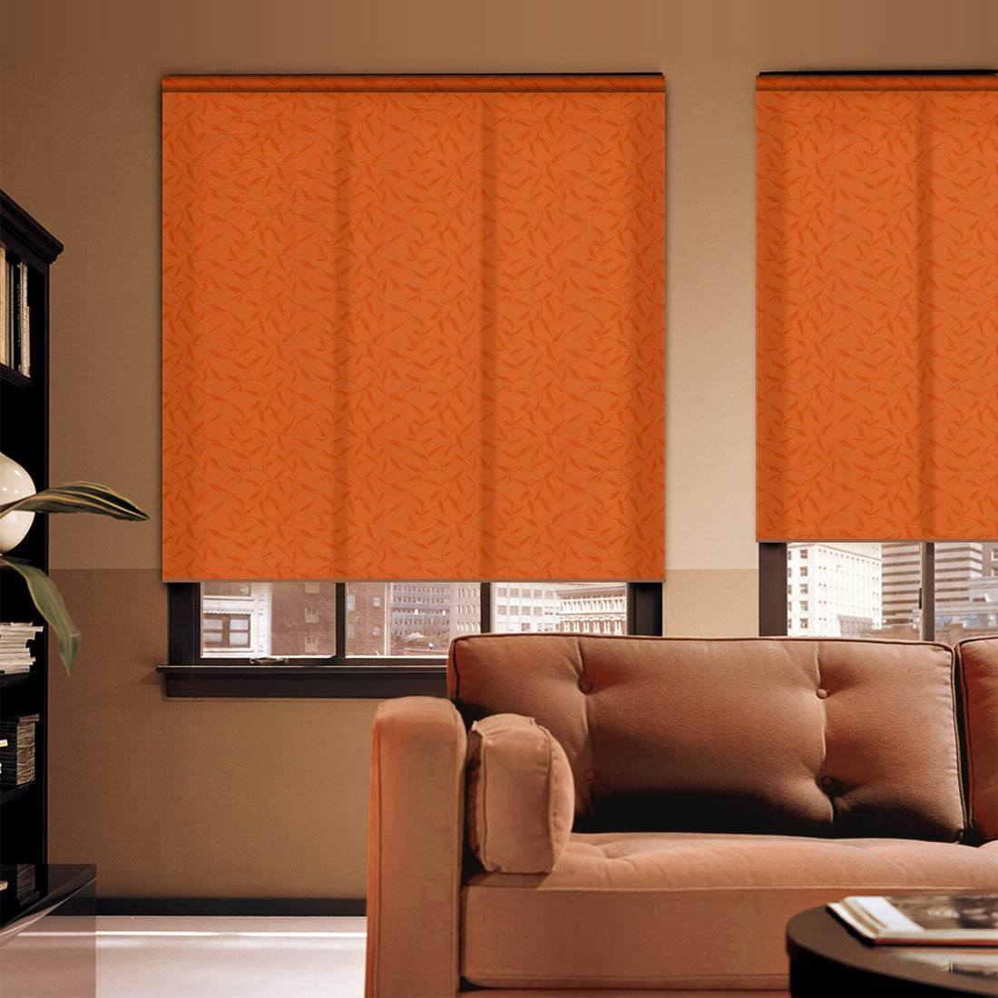 Perky orange curtains in modern designed living room