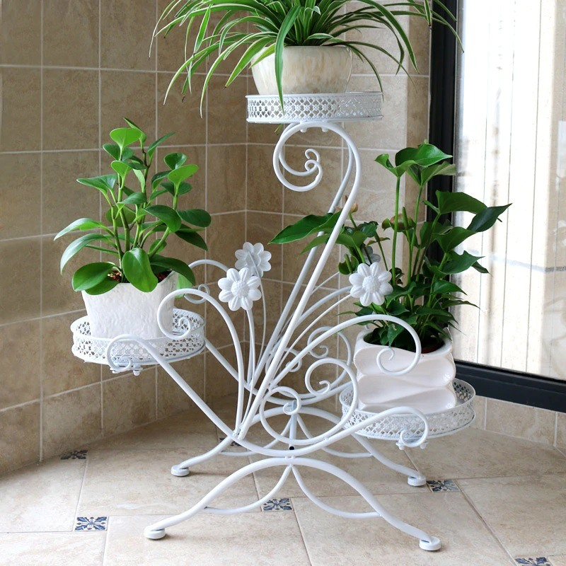 Unusual figured white flower stand