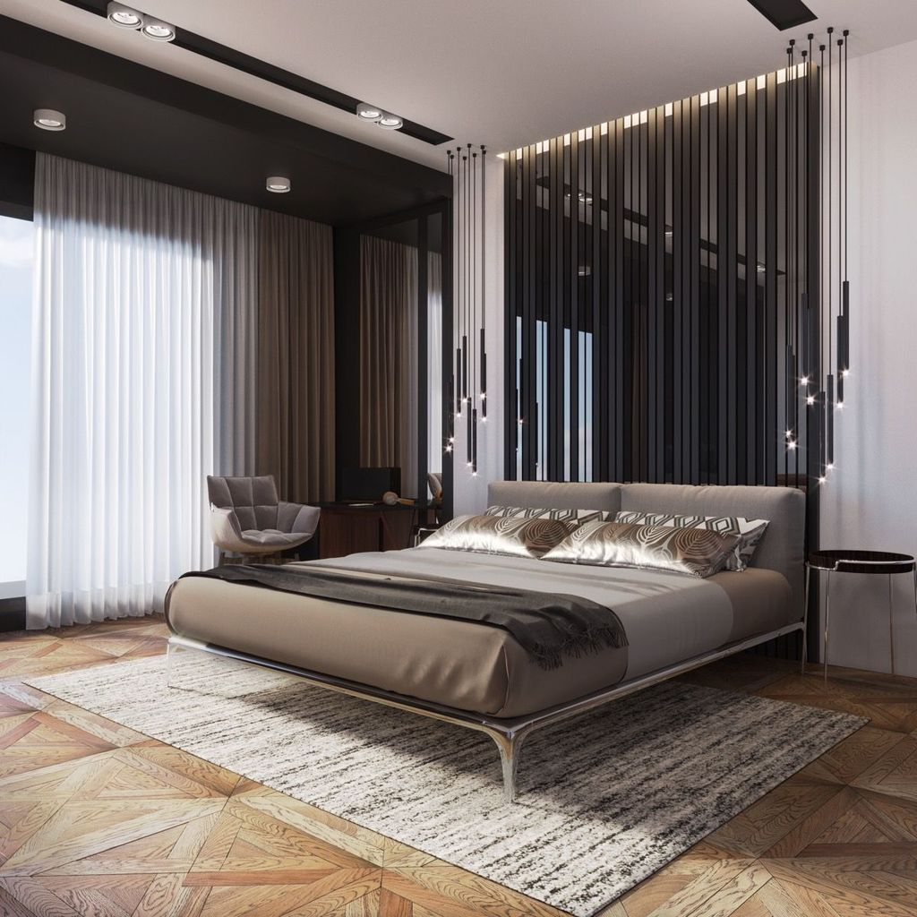 Ultramodern design of the headboard wall with dark planks and glossy surface