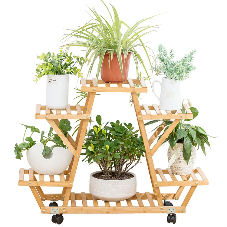 Mobile compact wooden flower stand on castors