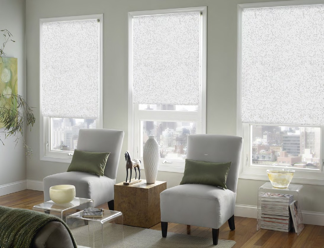 Nice neutral gray colored walls and white translucent roller blinds