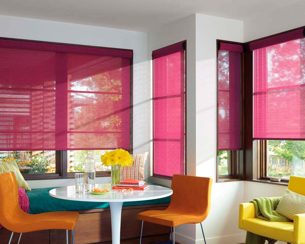 Translucent roller tulle for windows in the dining room with complex geometry