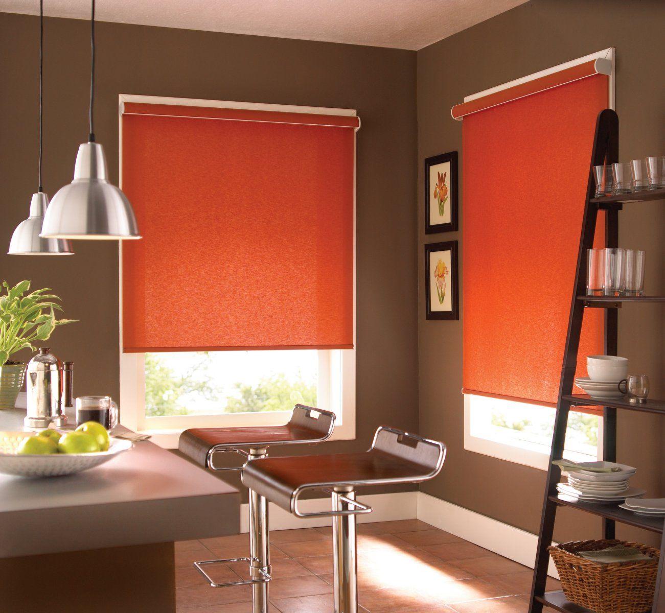 Acid orange colored roller blinds for open spaced modern kitchen