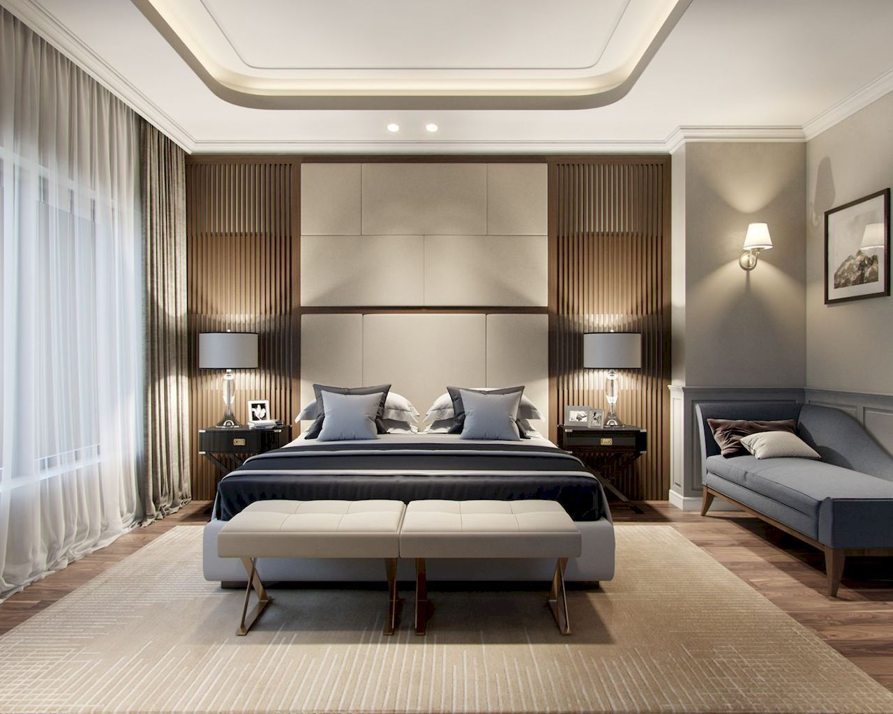 Bedroom Interior Design Ideas, Trends and Solutions 2020. Slatted shading wall for lamps and masculine dark bed with an ottoman