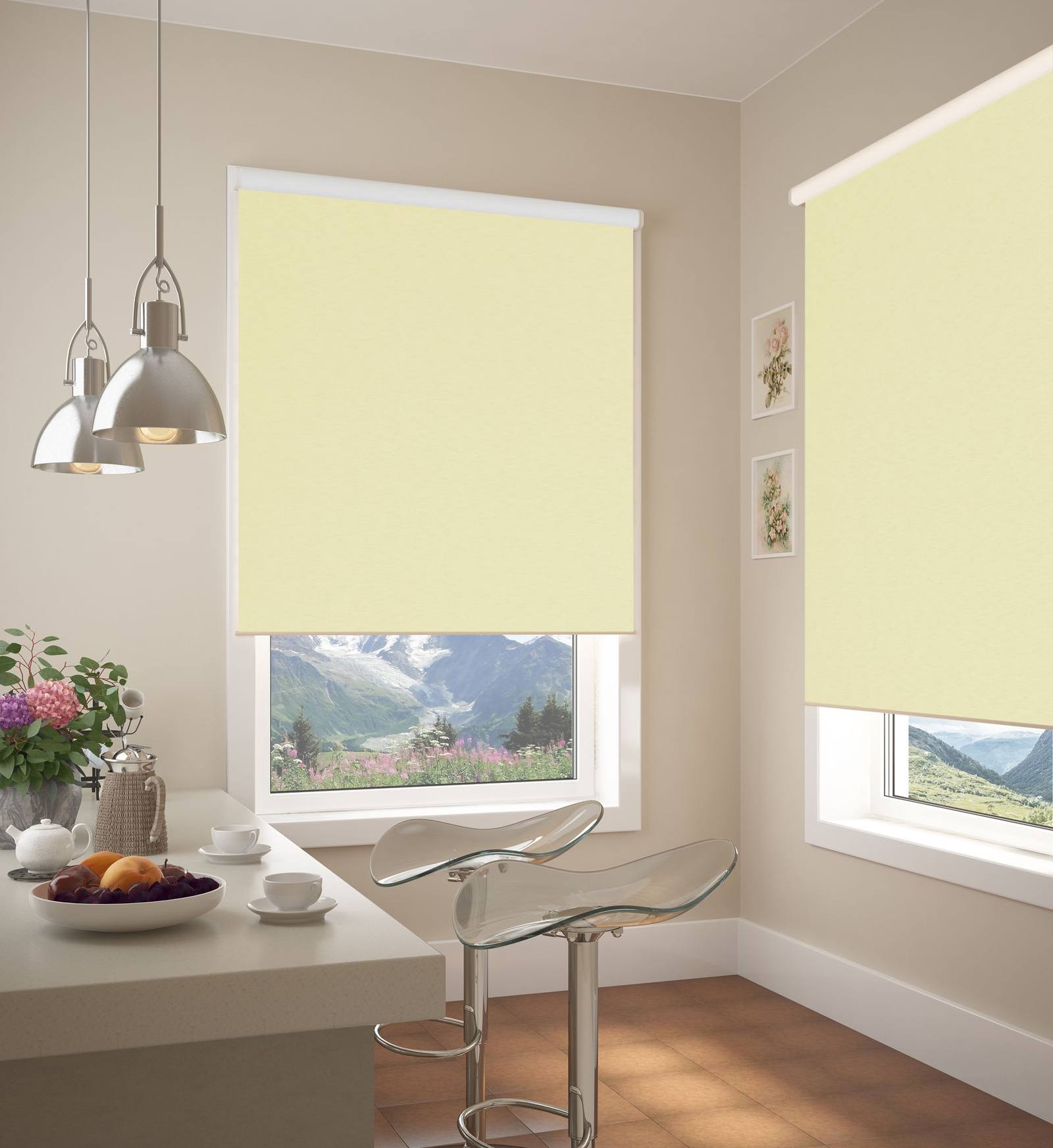 Pale yellow blinds and gray walls for masterfully designed dining room