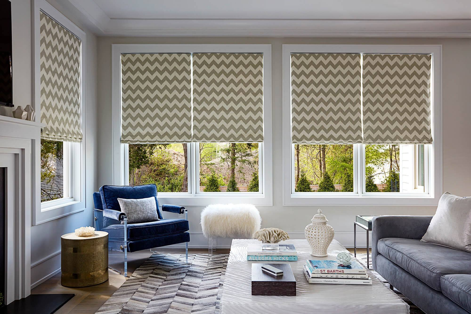 Wavy curtains in the modern designed white interior of the living