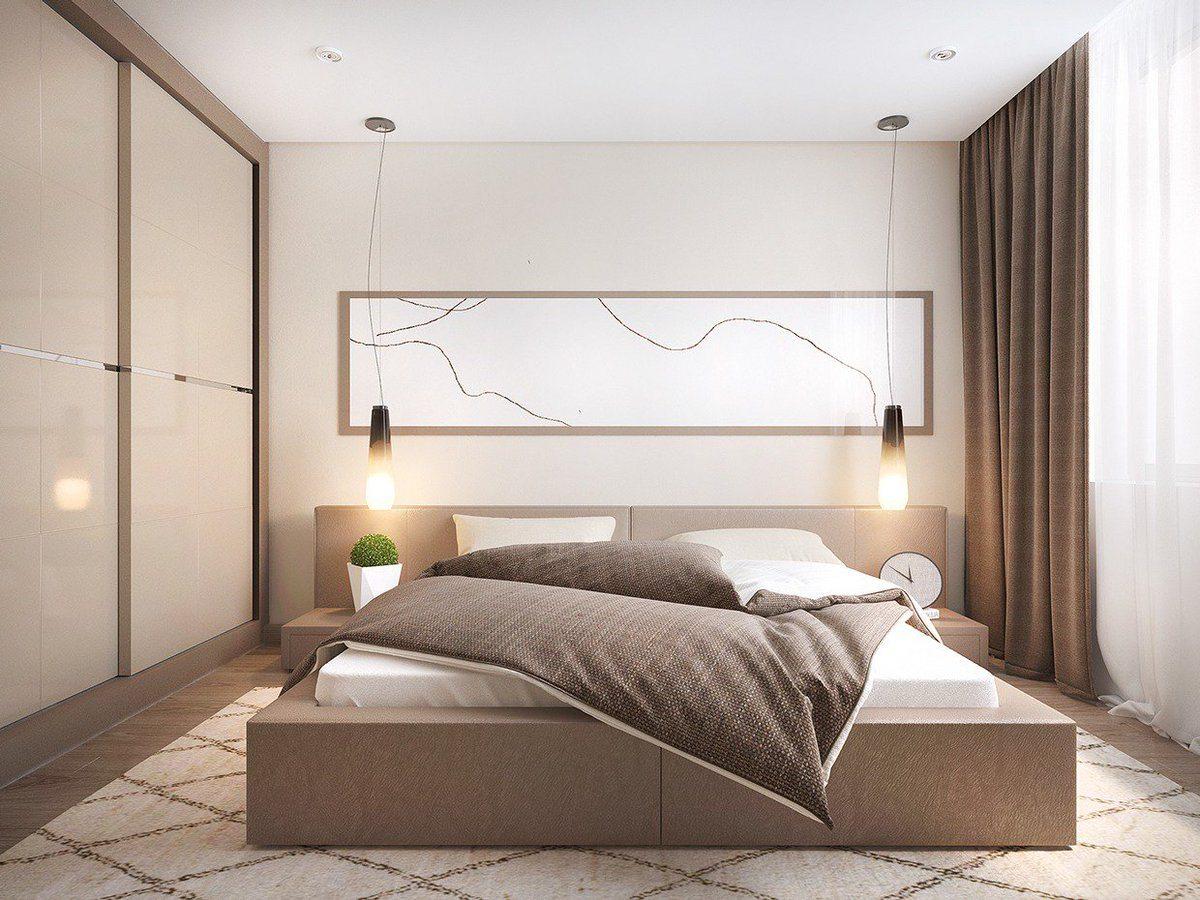 Unusual modern bedroom design with sandy beige tones and large platform bed