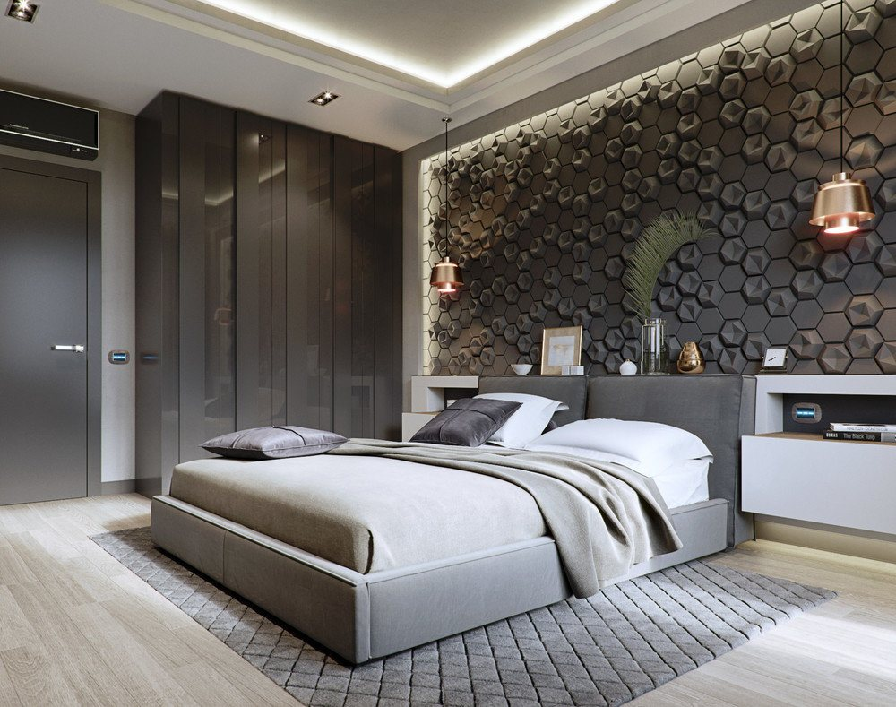 Gray textured wall and other gray elements for stunning bedroom design