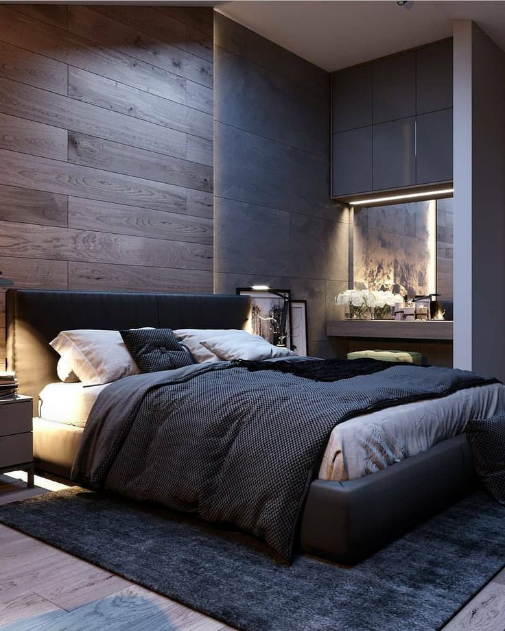 Wooden laminated wall for marvelous dark colored modern bedroom