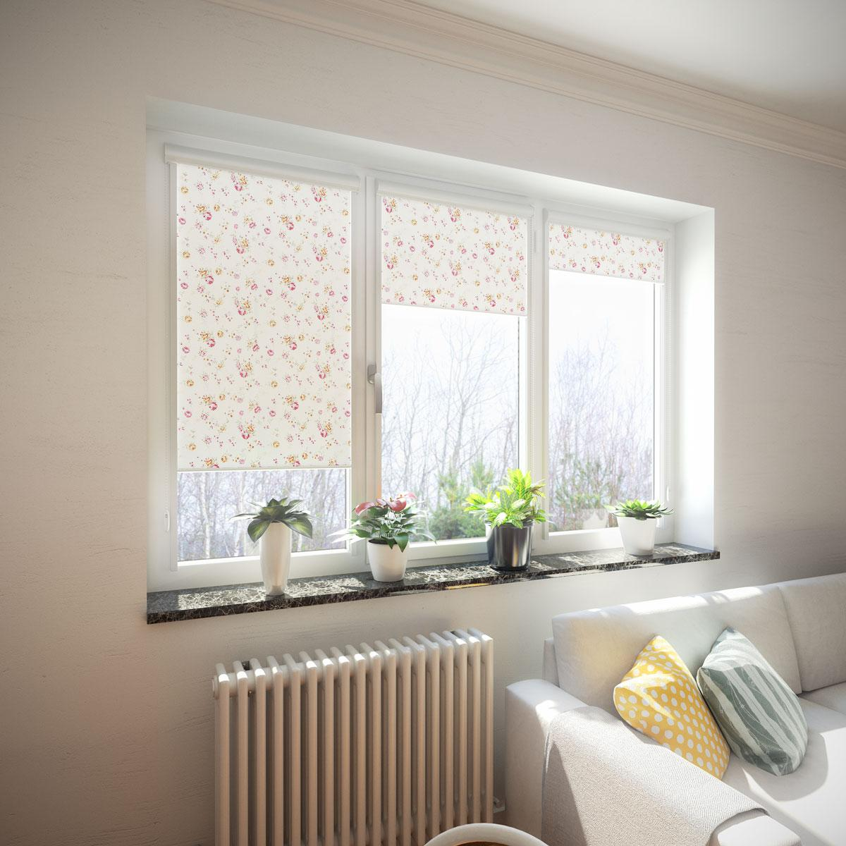 Casual designed living room with dotted roller blinds