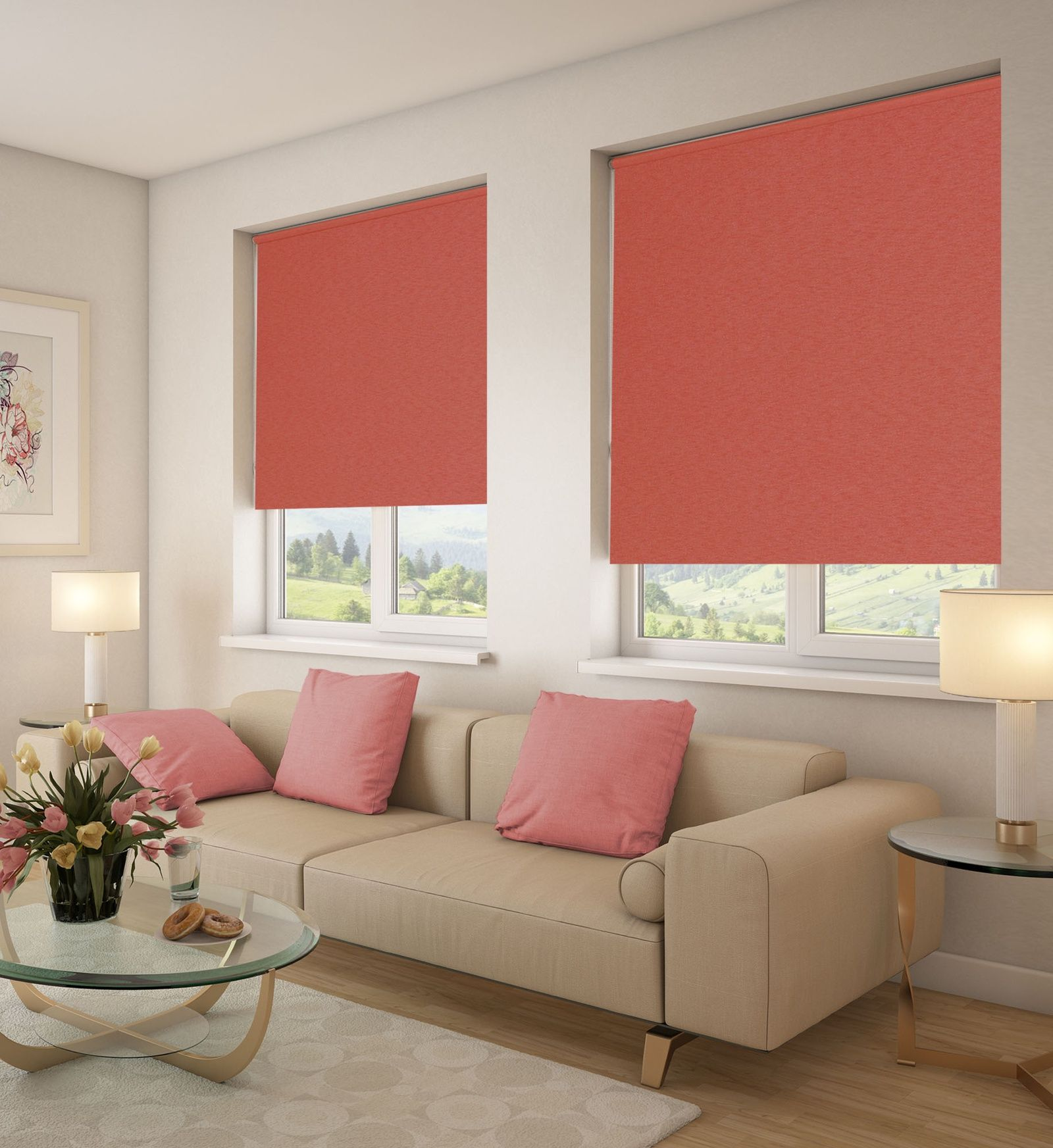 Crimson roller blinds for moderate living room with glass coffee table