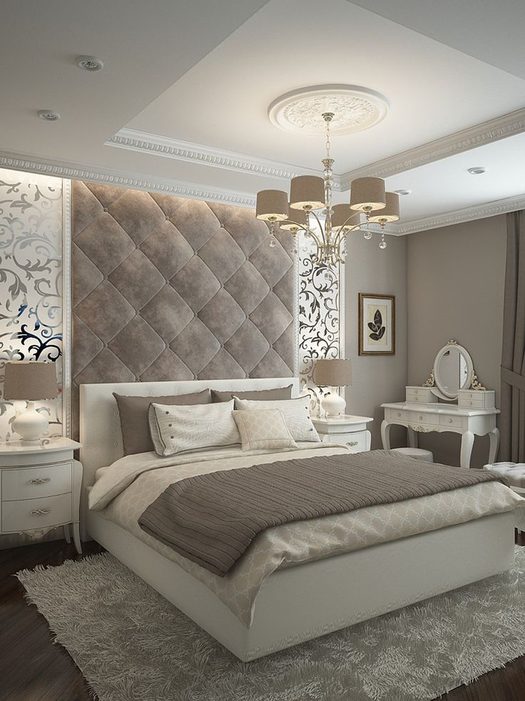 Absolutely gorgeous bedroom design with structured headboard wall