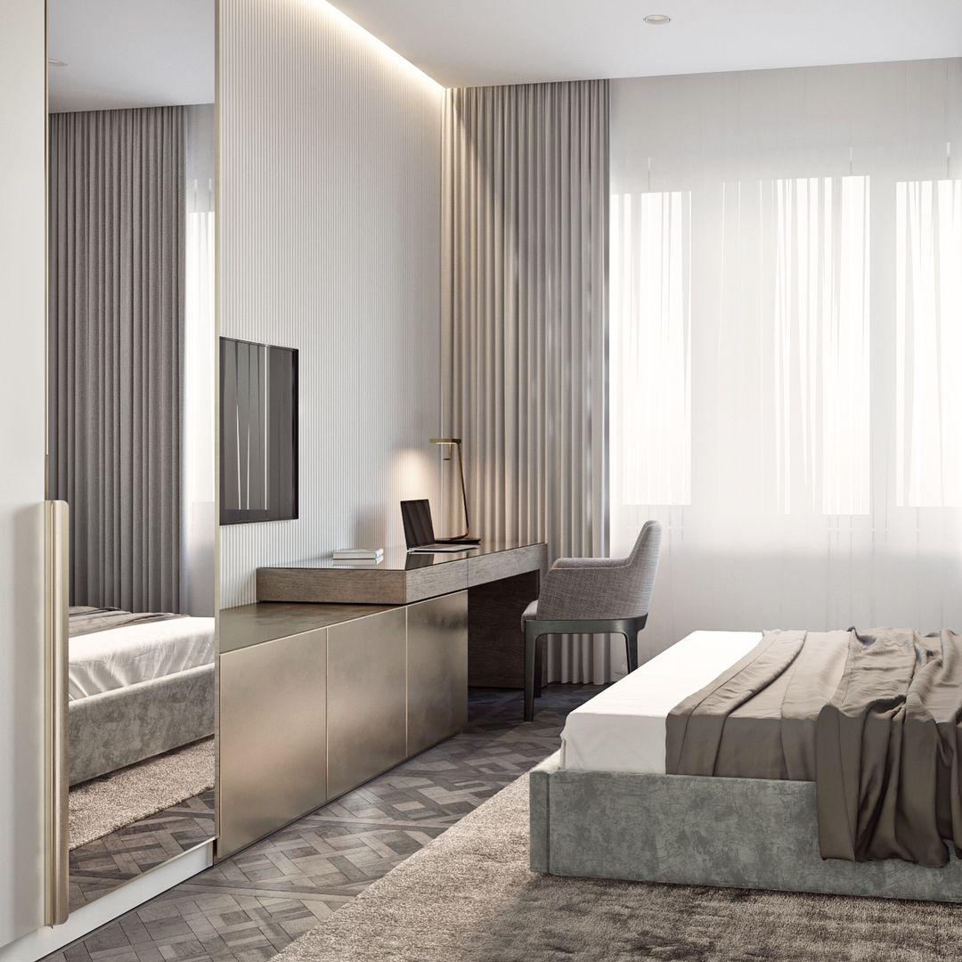 Cozy bedroom interior with solid silver color surfaces