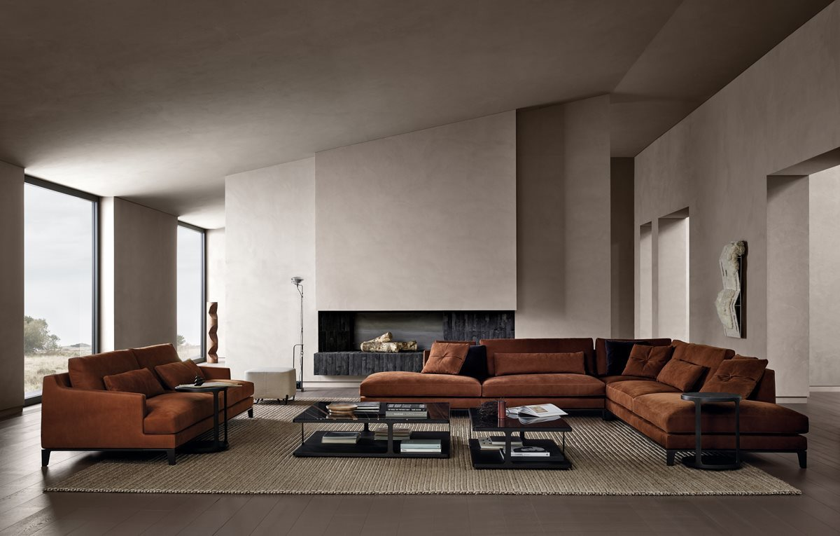 Contemporary Sofas to Modernize Your Living Room Decoration. Spacious loft designed living room with minimalistic approach and clay colored furniture set