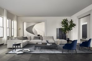 Contemporary Sofas to Modernize Your Living Room Decoration. Dark gray floor and slightly lighter gray rug to delimiter chatting zone in the living room