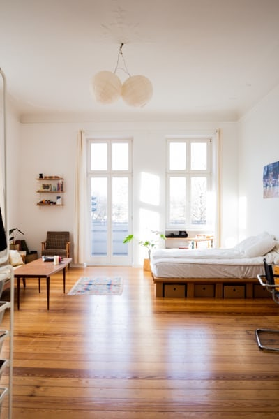 How to Furnish Your Studio Apartment for Maximum Space. Minimalistic set of the small open layout home