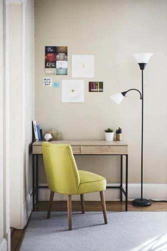 Homework Spaces and Study Room Ideas. Casual designed workplace with yellow upholstered chair