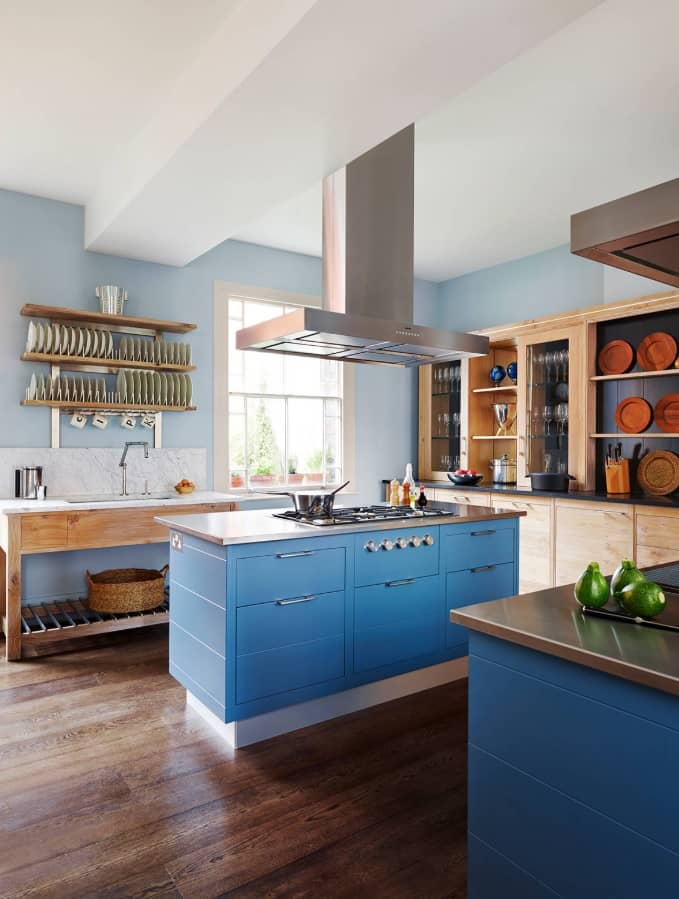 10 Kitchen Interior Design Tips. Fresh blue island siding and huge steel extractor hood