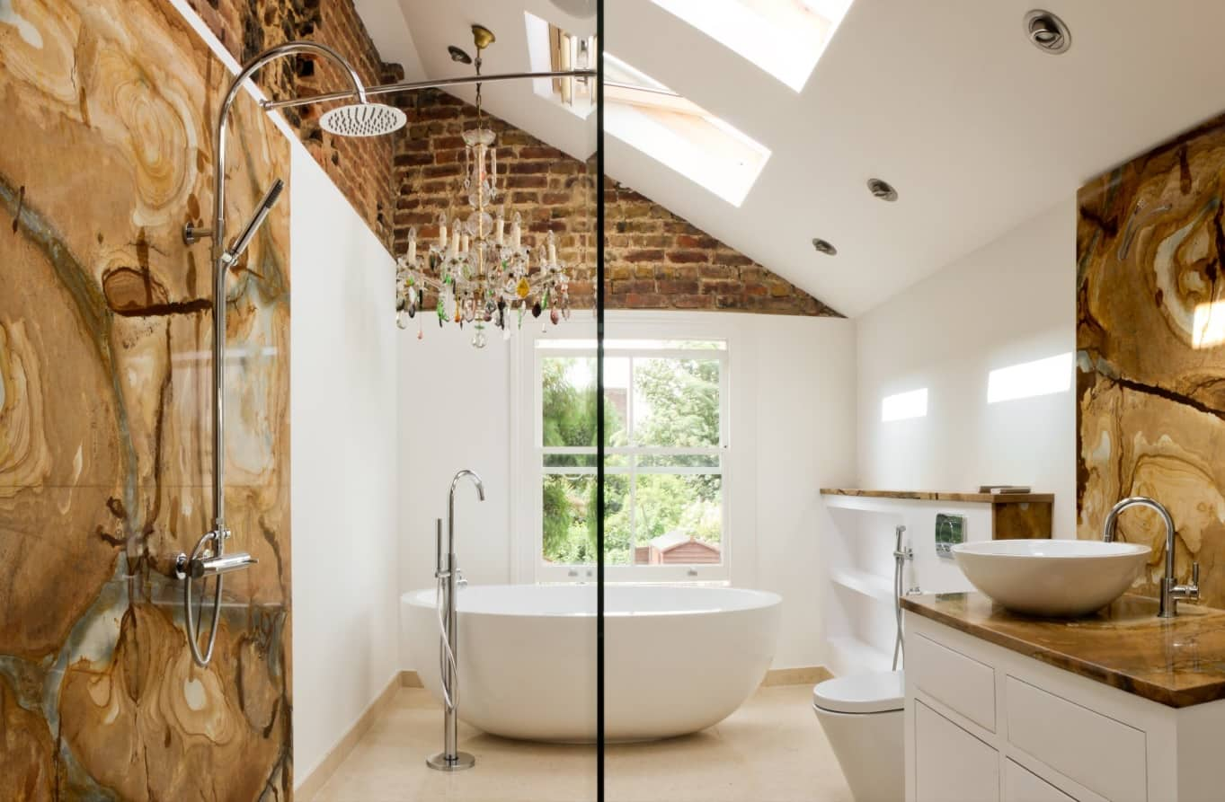 Loft retro and Shabby Chic interior with complex shower and bathing open space