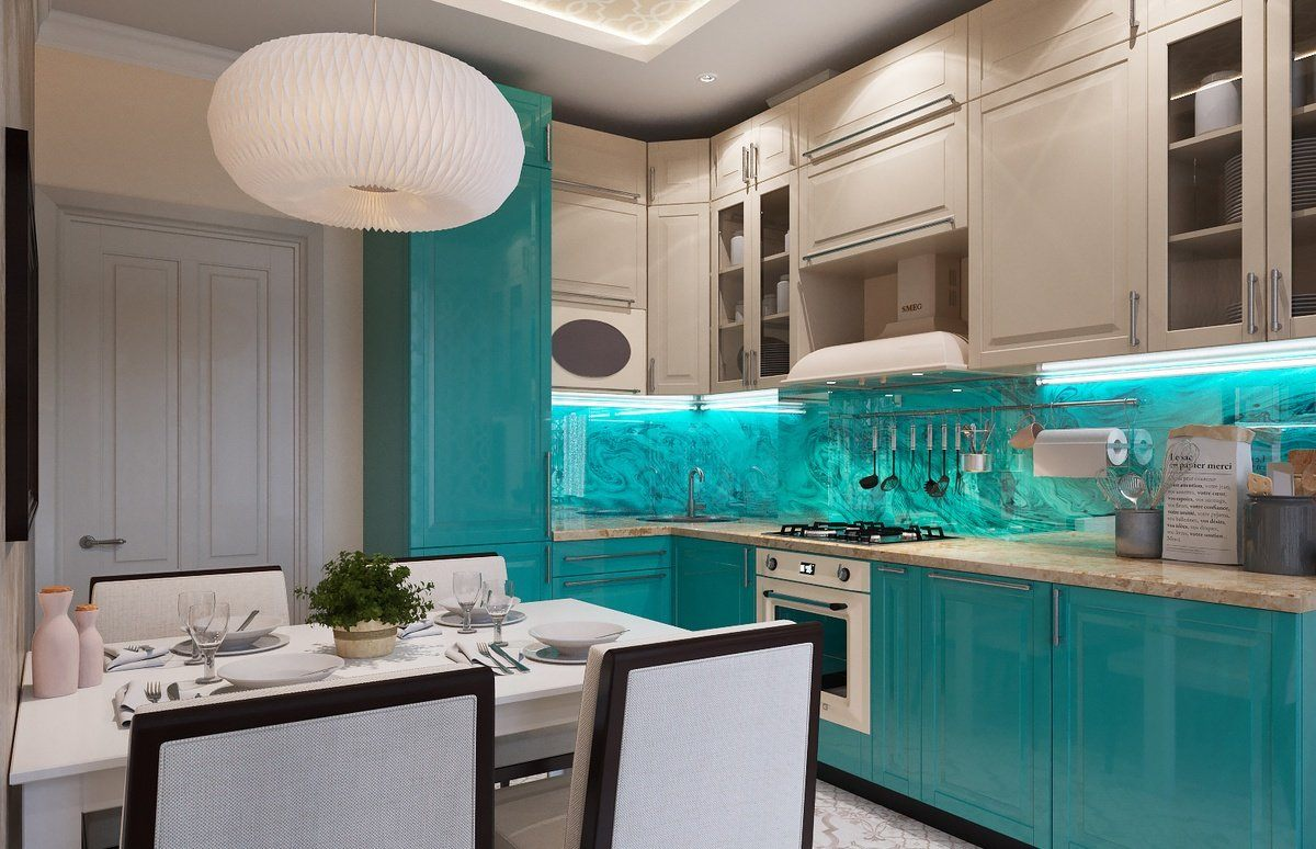 Beige top boxes and turquoise backsplash and bottom cabinets for contemporary kitchen