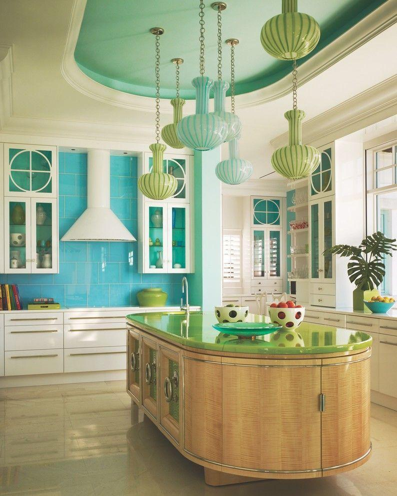 Great turquoise color palette for spacious kitchen with independent island in the center