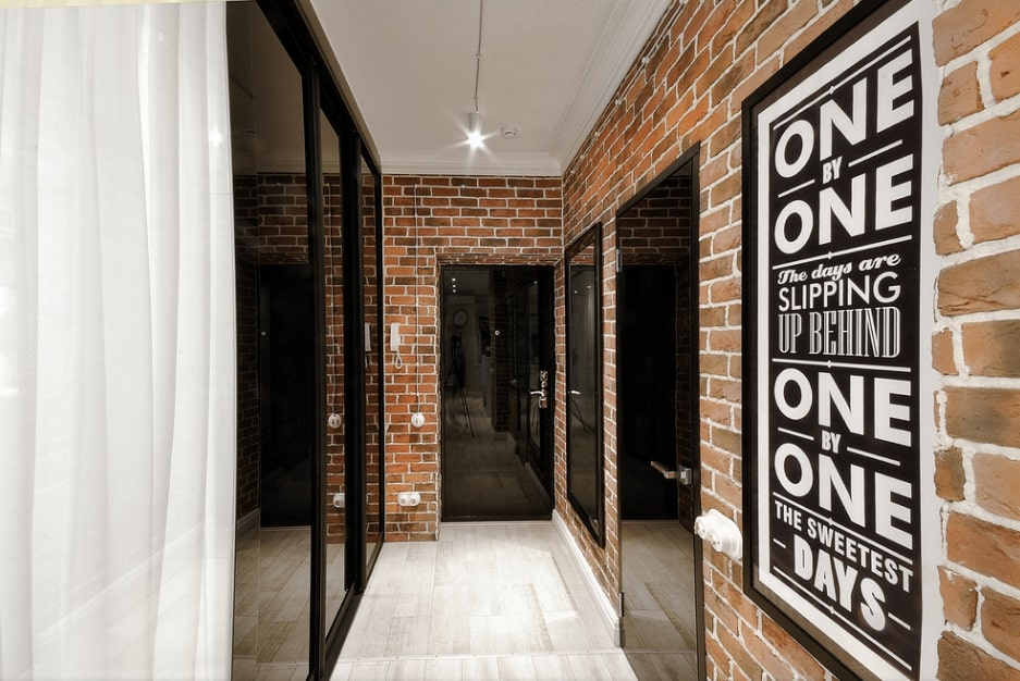 Modern Stylish Hallway Design Ideas & Trends. Great brickwork and black glossy surfaces combination