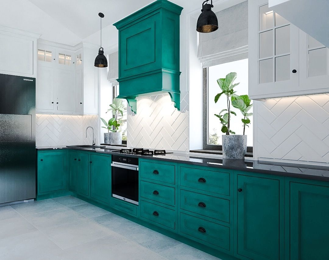 Turquoise Kitchen Design Ideas: A Lot of Decoration Options. Classic setting with herringbone white tiles