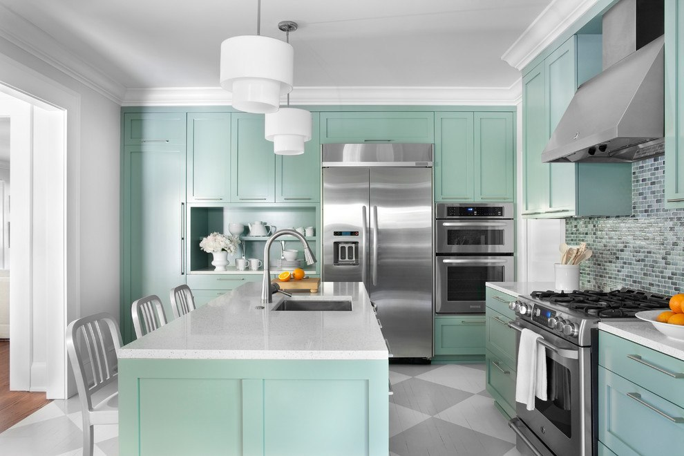 Olive colored kitchen furniture and classic white ceiling