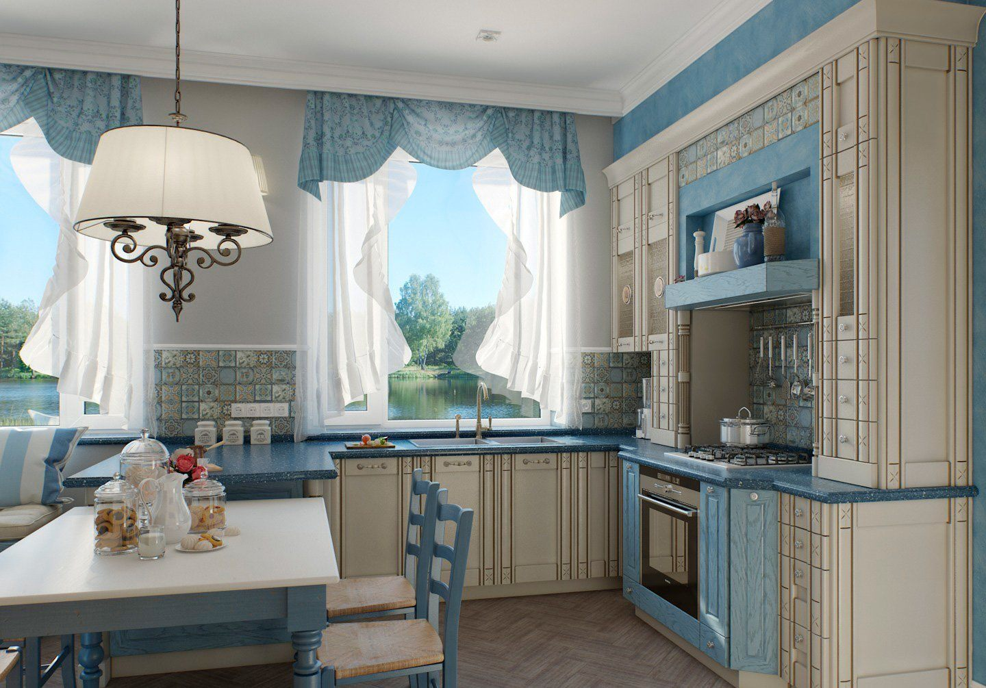 Blue touch in the classic styled kitchen with carved facades