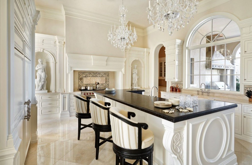 Royal looking chic interior of the large Classic kitchen in pompous Greek style