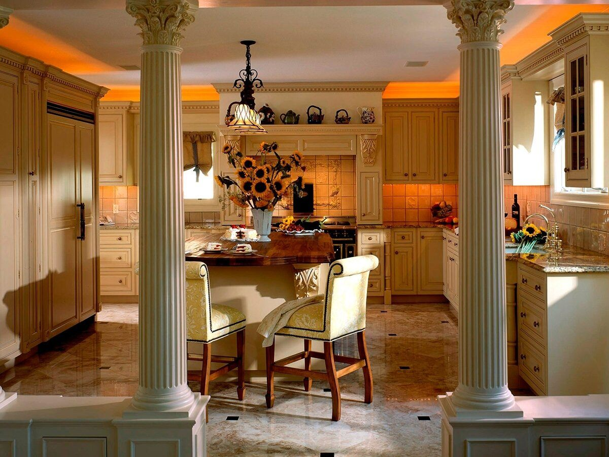 Greek Kitchen Interior Design Style: Harmony of Simplicity. Great Classic with columns