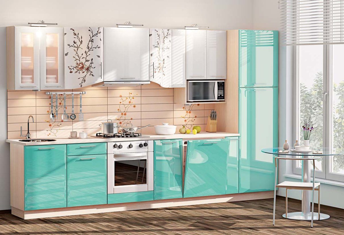 Glossy turquoise bottom line of the kitchen furniture to tint the dark floor