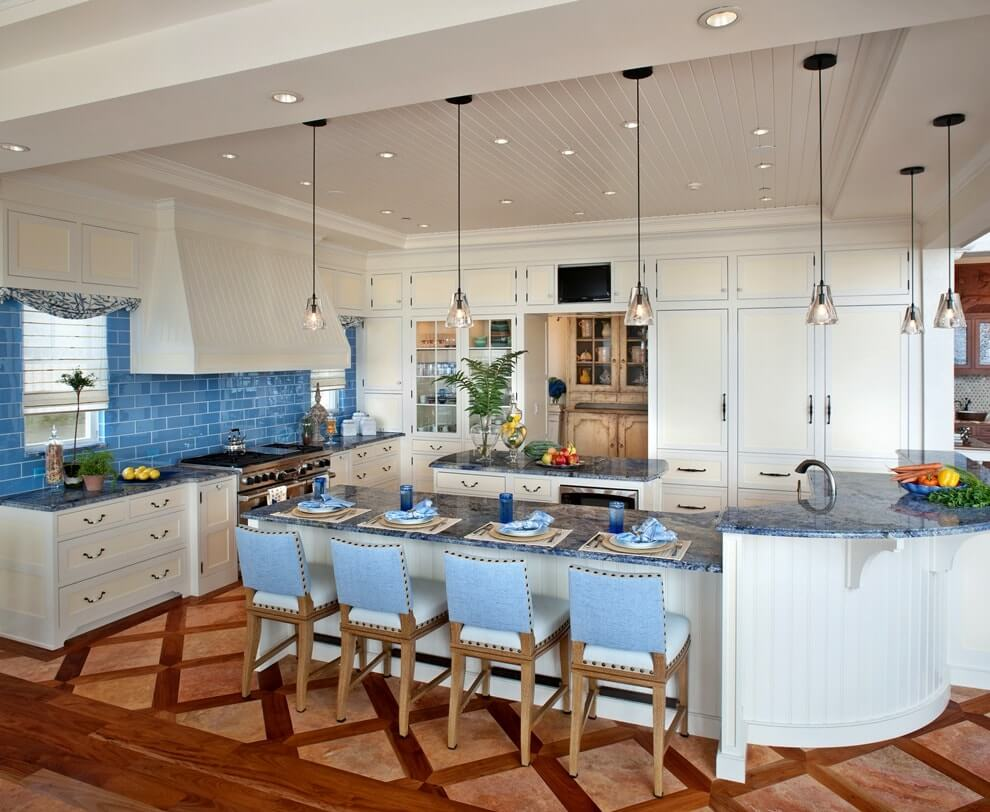 Unusual Classic kitchen interior with blue additions