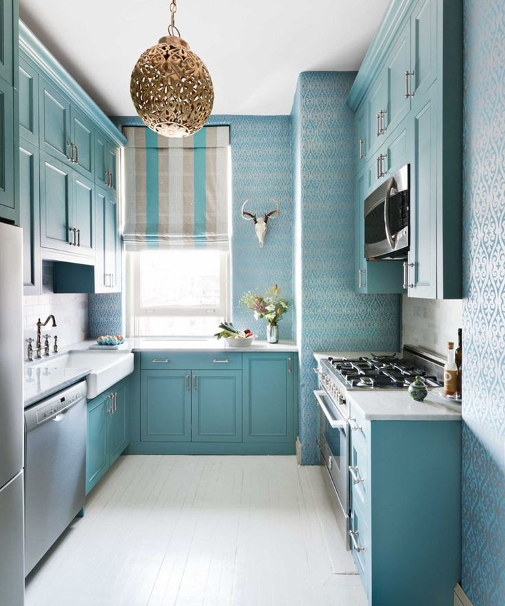Turquoise Kitchen Design Ideas: A Lot of Decoration Options. Pale colored facades