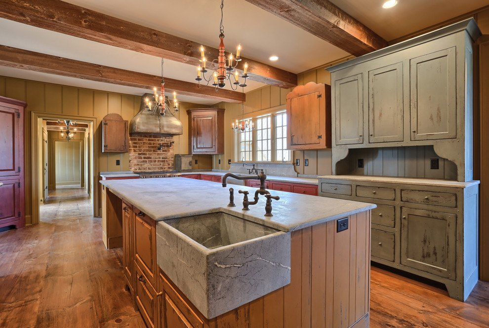 Farmhouse sink for classic designed kitchen and wood all over the place