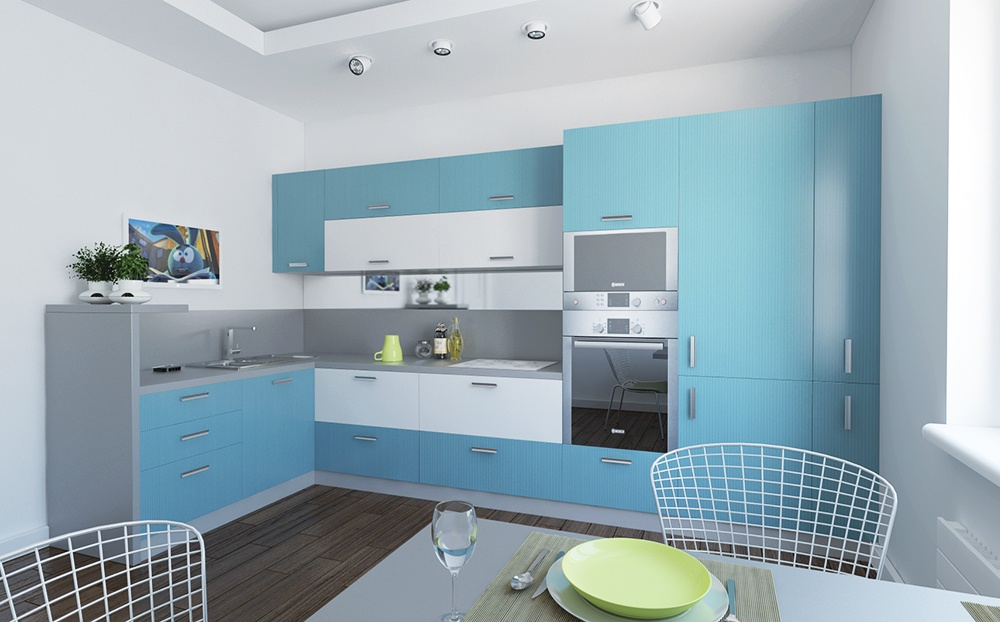 Pale blue modern kitchen space with dark laminated floor