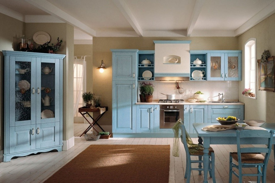 Sky blue colored furniture and neutral white walls for the kitchen