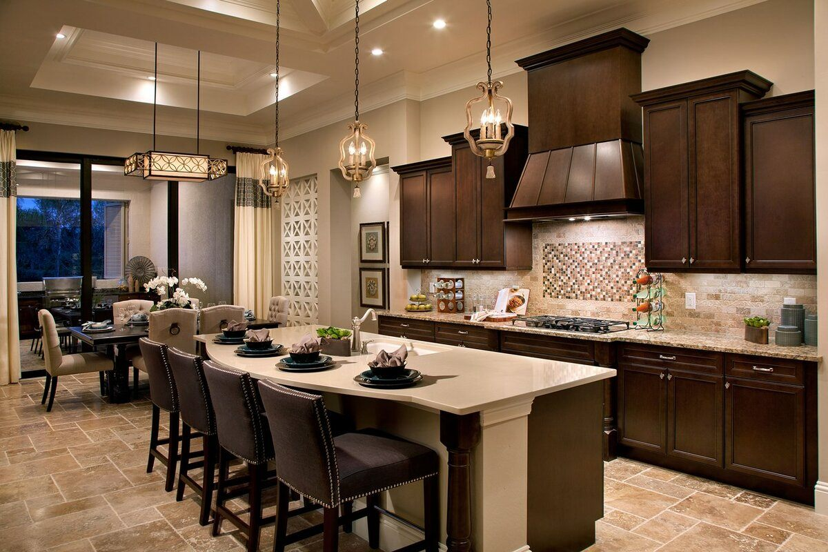 Dark chocolate chair group for speckless colonial styled kitchen with dark wooden facades