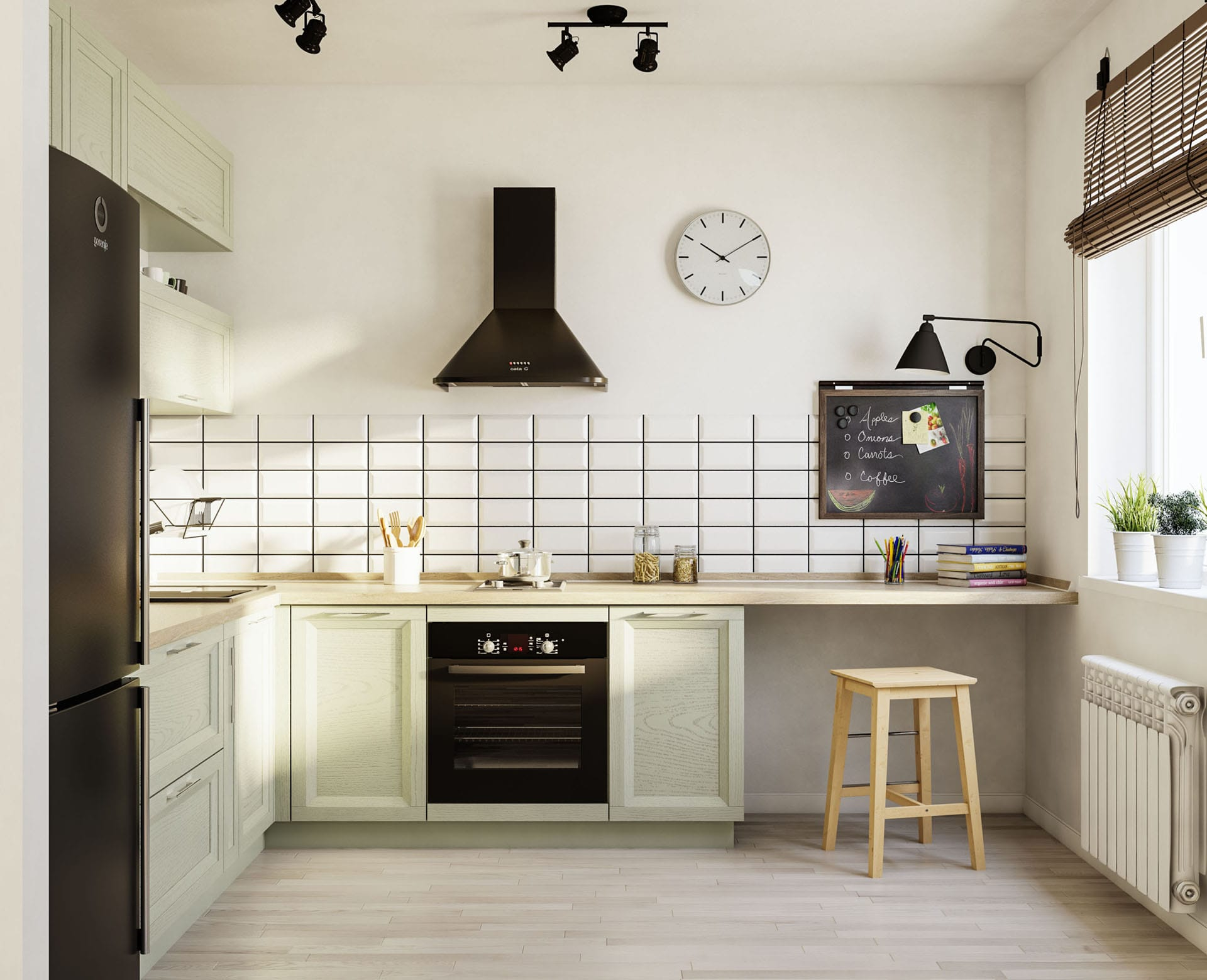 Simple concise black and white kitchen