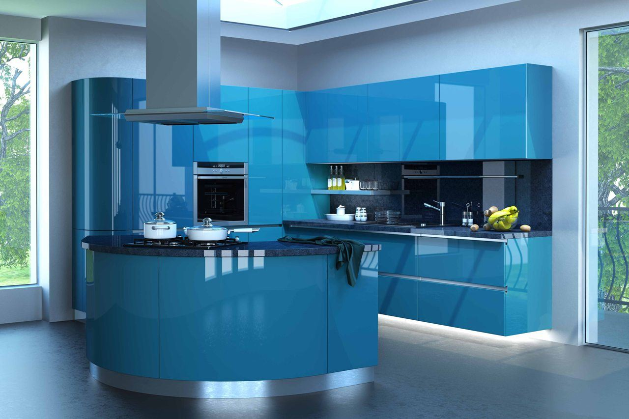 Great bluish turquoise tint for modern space with rounded forms