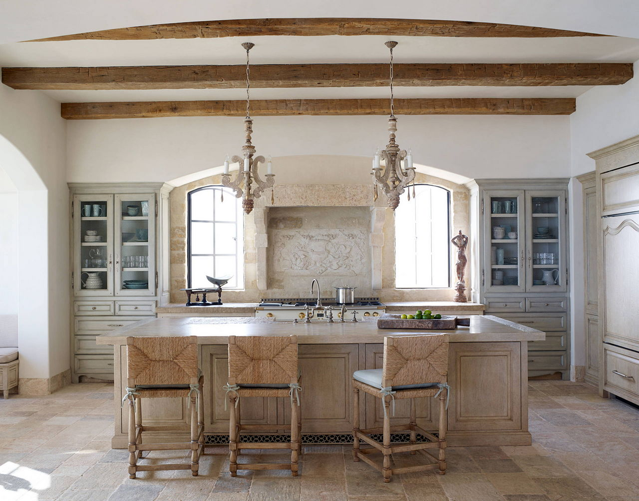 Provence looking spacious kitchen in pastel color palette