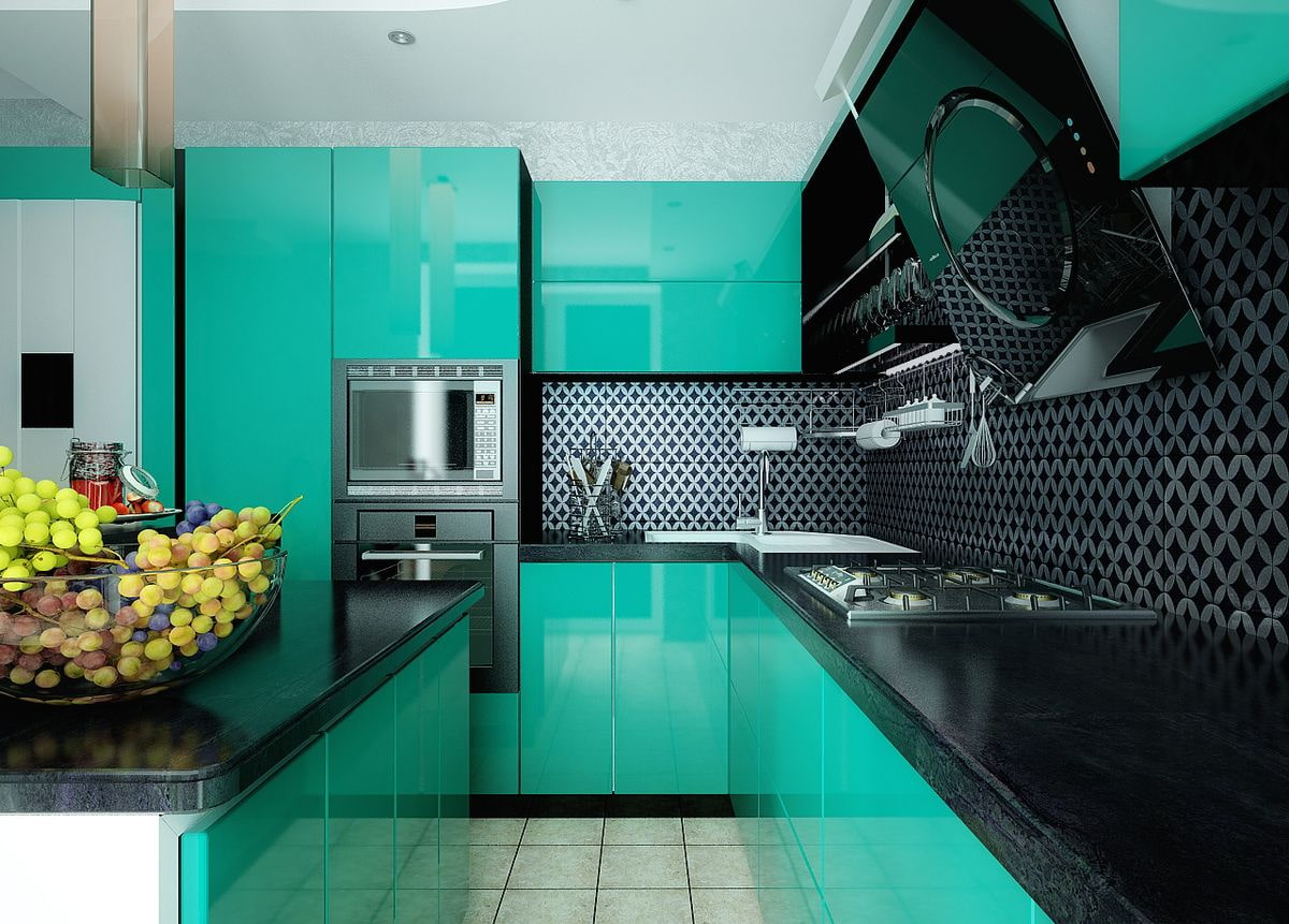 Acid springgreen colored glossy facades and dark backsplash for modern designed kitchen